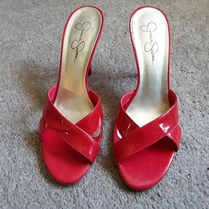 Bright Red Patent Leather Mules